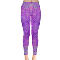 Hot Pink And Purple Abstract Branch Pattern Inside Out Leggings by myrubiogarden