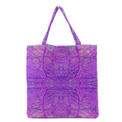 Hot Pink And Purple Abstract Branch Pattern Grocery Tote Bag by myrubiogarden