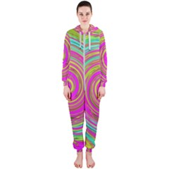 Groovy Abstract Pink, Turquoise And Yellow Swirl Hooded Jumpsuit (ladies)