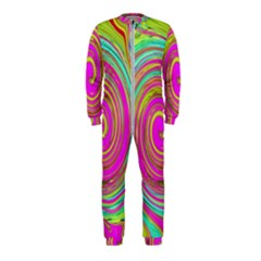 Groovy Abstract Pink, Turquoise And Yellow Swirl Onepiece Jumpsuit (kids)