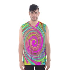 Groovy Abstract Pink, Turquoise And Yellow Swirl Men s Basketball Tank Top by myrubiogarden