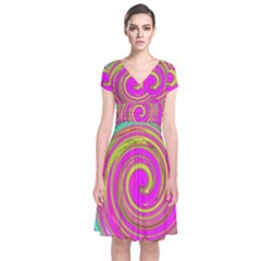Groovy Abstract Pink, Turquoise And Yellow Swirl Short Sleeve Front Wrap Dress by myrubiogarden