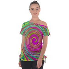 Groovy Abstract Pink, Turquoise And Yellow Swirl Tie Up Tee by myrubiogarden