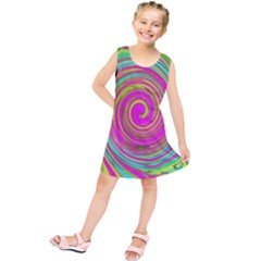 Groovy Abstract Pink, Turquoise And Yellow Swirl Kids  Tunic Dress by myrubiogarden