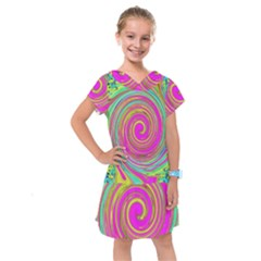 Groovy Abstract Pink, Turquoise And Yellow Swirl Kids  Drop Waist Dress
