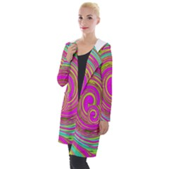 Groovy Abstract Pink, Turquoise And Yellow Swirl Hooded Pocket Cardigan by myrubiogarden