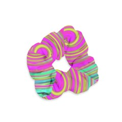 Groovy Abstract Pink, Turquoise And Yellow Swirl Velvet Scrunchie by myrubiogarden