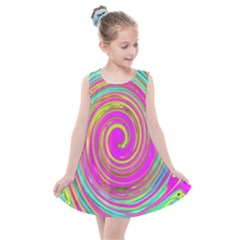 Groovy Abstract Pink, Turquoise And Yellow Swirl Kids  Summer Dress