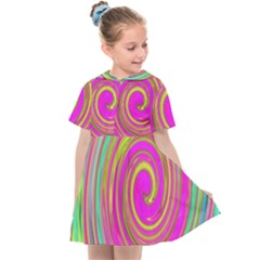 Groovy Abstract Pink, Turquoise And Yellow Swirl Kids  Sailor Dress