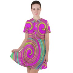 Groovy Abstract Pink, Turquoise And Yellow Swirl Short Sleeve Shoulder Cut Out Dress