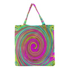 Groovy Abstract Pink, Turquoise And Yellow Swirl Grocery Tote Bag by myrubiogarden