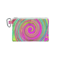 Groovy Abstract Pink, Turquoise And Yellow Swirl Canvas Cosmetic Bag (small) by myrubiogarden
