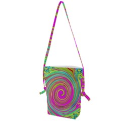 Groovy Abstract Pink, Turquoise And Yellow Swirl Folding Shoulder Bag