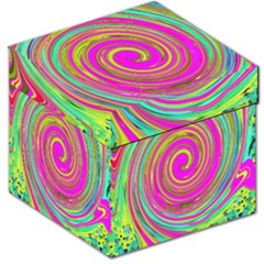 Groovy Abstract Pink, Turquoise And Yellow Swirl Storage Stool 12   by myrubiogarden