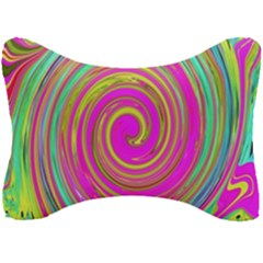Groovy Abstract Pink, Turquoise And Yellow Swirl Seat Head Rest Cushion by myrubiogarden