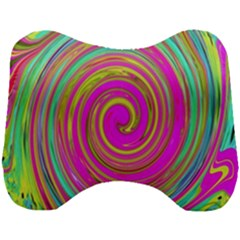 Groovy Abstract Pink, Turquoise And Yellow Swirl Head Support Cushion by myrubiogarden
