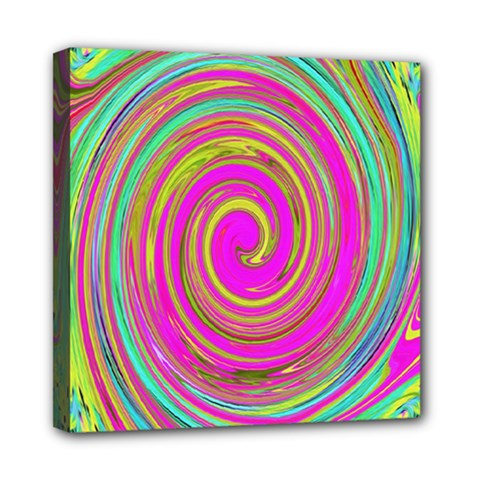 Groovy Abstract Pink, Turquoise And Yellow Swirl Mini Canvas 8  X 8  (stretched)