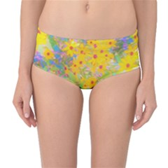 Pretty Yellow And Red Flowers With Turquoise Mid-waist Bikini Bottoms by myrubiogarden
