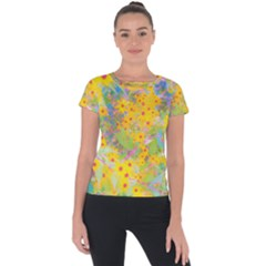 Pretty Yellow And Red Flowers With Turquoise Short Sleeve Sports Top