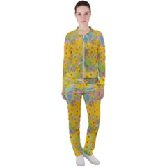 Pretty Yellow And Red Flowers With Turquoise Casual Jacket And Pants Set