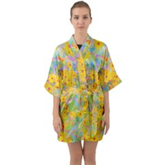 Pretty Yellow And Red Flowers With Turquoise Quarter Sleeve Kimono Robe by myrubiogarden