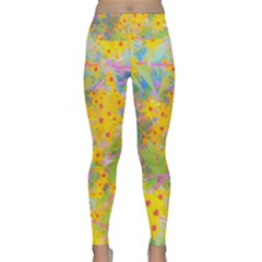 Pretty Yellow And Red Flowers With Turquoise Lightweight Velour Classic Yoga Leggings by myrubiogarden