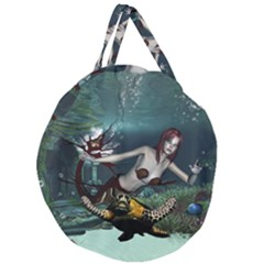 Wonderful Fmermaid With Turtle In The Deep Ocean Giant Round Zipper Tote by FantasyWorld7