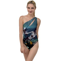 Wonderful Fmermaid With Turtle In The Deep Ocean To One Side Swimsuit by FantasyWorld7
