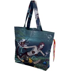 Wonderful Fmermaid With Turtle In The Deep Ocean Drawstring Tote Bag by FantasyWorld7
