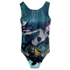 Wonderful Fmermaid With Turtle In The Deep Ocean Kids  Cut Out Back One Piece Swimsuit