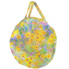 Pretty Yellow And Red Flowers With Turquoise Giant Round Zipper Tote by myrubiogarden