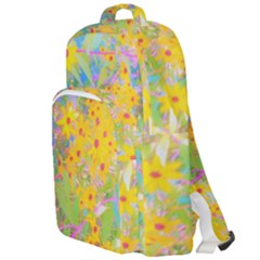 Pretty Yellow And Red Flowers With Turquoise Double Compartment Backpack