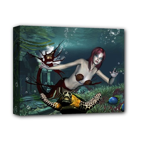 Wonderful Fmermaid With Turtle In The Deep Ocean Deluxe Canvas 14  X 11  (stretched)
