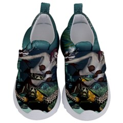 Wonderful Fmermaid With Turtle In The Deep Ocean Velcro Strap Shoes