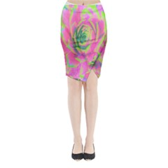 Lime Green And Pink Succulent Sedum Rosette Midi Wrap Pencil Skirt