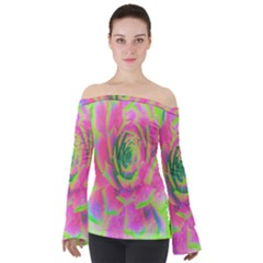 Lime Green And Pink Succulent Sedum Rosette Off Shoulder Long Sleeve Top by myrubiogarden