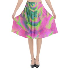 Lime Green And Pink Succulent Sedum Rosette Flared Midi Skirt