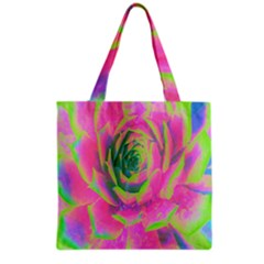 Lime Green And Pink Succulent Sedum Rosette Grocery Tote Bag by myrubiogarden