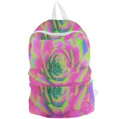 Lime Green And Pink Succulent Sedum Rosette Foldable Lightweight Backpack