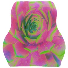 Lime Green And Pink Succulent Sedum Rosette Car Seat Velour Cushion  by myrubiogarden