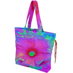 Psychedelic Pink And Red Hibiscus Flower Drawstring Tote Bag