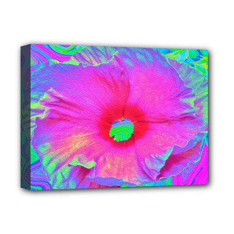 Psychedelic Pink And Red Hibiscus Flower Deluxe Canvas 16  X 12  (stretched)