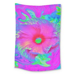 Psychedelic Pink And Red Hibiscus Flower Large Tapestry by myrubiogarden