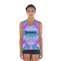 Pink And Purple Dahlia On Blue Pattern Sport Tank Top  by myrubiogarden