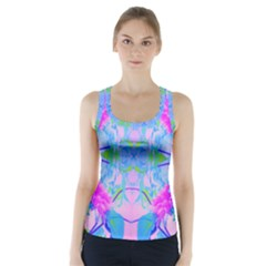 Pink And Purple Dahlia On Blue Pattern Racer Back Sports Top by myrubiogarden