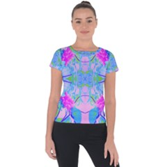 Pink And Purple Dahlia On Blue Pattern Short Sleeve Sports Top  by myrubiogarden