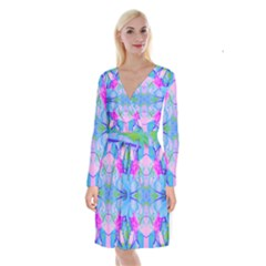 Pink And Purple Dahlia On Blue Pattern Long Sleeve Velvet Front Wrap Dress by myrubiogarden
