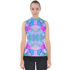 Pink And Purple Dahlia On Blue Pattern Mock Neck Shell Top by myrubiogarden