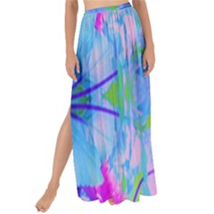Pink And Purple Dahlia On Blue Pattern Maxi Chiffon Tie Up Sarong
