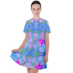 Pink And Purple Dahlia On Blue Pattern Short Sleeve Shoulder Cut Out Dress  by myrubiogarden